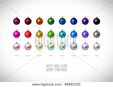 Colorful Christmas Ornaments Isolated On White Background. Hangi