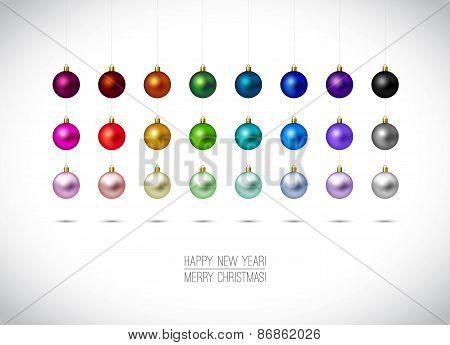 Colorful Christmas Ornaments Isolated On White Background. Hangi