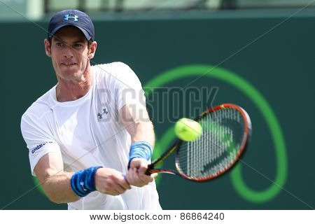 KEY BISCAYNE, FL-MAR 27: Andy Murray of Great Britain returns a shot during day five of the Miami Open at Crandon Park Tennis Center on March 27, 2015 in Key Biscayne, Florida