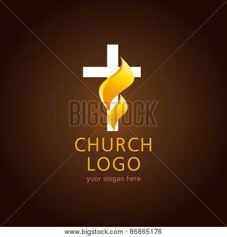 Shining fiery cross. Religious vector christian church logo. Crucifix lighting icon gold colored.