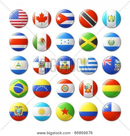 World flags round badges, magnets. North and South America. Vector illustration.