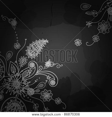 Indian pattern on blackboard background. Vector ethnic design. F