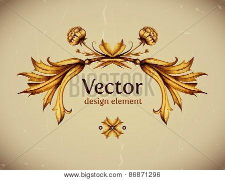 Vector vintage decor. Floral vector. Vintage label. Vintage fram