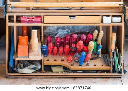 box of carpenter joiner tools as screwdriver fad plane water level