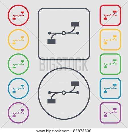 Bezier Curve Icon Sign. Symbol On The Round And Square Buttons With Frame. Vector