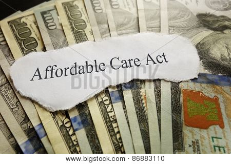 Affordable Care Act news headline on cash poster