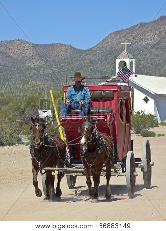 A Stagecoach At Old Tucson, Tucson, Arizona