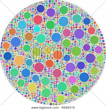 Arlequin circles inside a big one