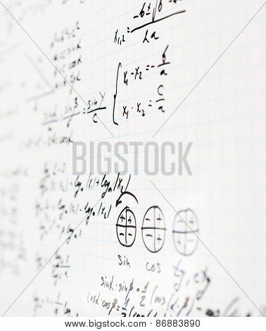 Trigonometry math equations and formulas