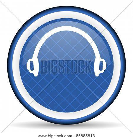 headphones blue icon   poster