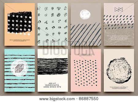 Set of Vintage Creative Cards with Hand Drawn Hipster Textures Made with Ink. Retro Patterns for Placards, Posters, Flyers and Banner Designs.