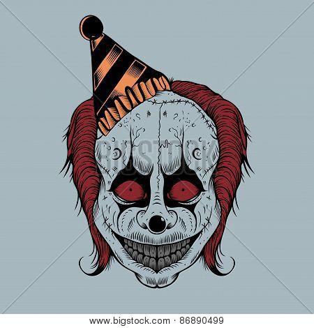 Illustartion of cartoon scary clown.