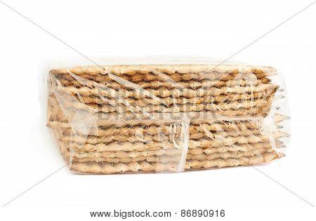 Pile of machine made matza flatbread