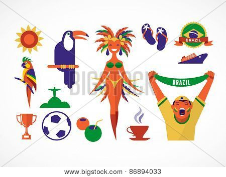 Brazil. Collection of icons and illustrations