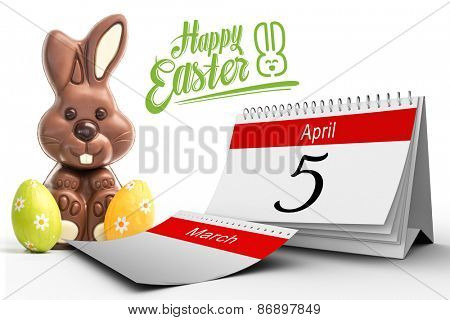 five against cute chocolate bunny with two easter eggs