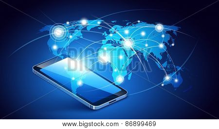 Modern communication technology with mobile phone. Vector illustration