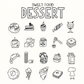 Sweet food desert morning breakfast lunch or dinner kitchen doodle hand drawn sketch rough simple icons muffin, donut, cupcake, jam and other sweets. poster