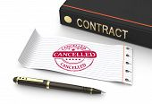Stamp cancelled with contract document as concept poster