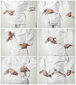 Karateka belt tying step by step pictures poster