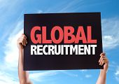 Global Recruitment card with sky background poster