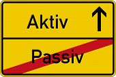 The German words for passive and active (passiv and aktiv) on a road sign poster