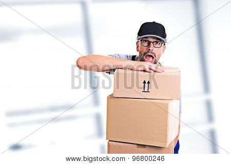 overstrained postman with parcels and dark cap poster