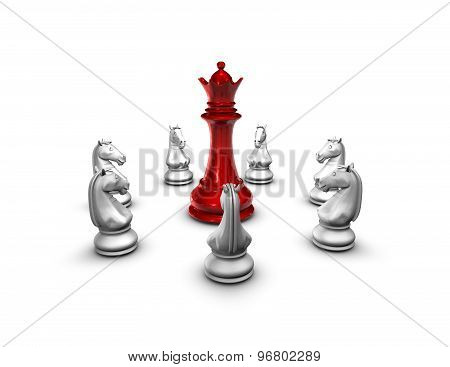 War, Conflict Idea, Chess Figurines Isolated On White