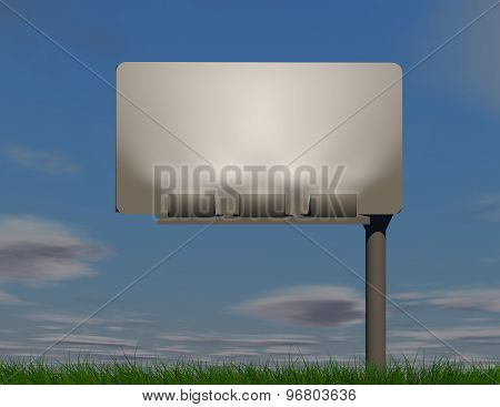 Ackground With Blue Sky And Empty Billboard