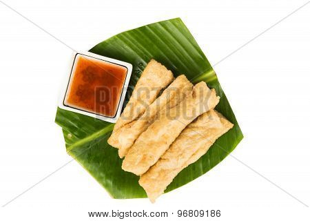 A serving of fried fish stick or keropok lekok, a popular snack in Malaysia.