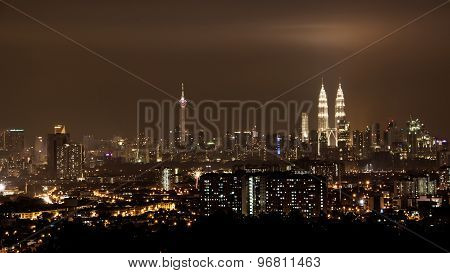 KUALA LUMPUR, MALAYSIA, November 4, 2013: Panoramic view of Kuala Lumpur at night