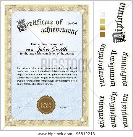 Vector illustration of gold certificate. Template. Vertical. Additional design elements.