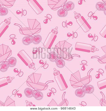 seamless pattern from pacifier, pram and baby bottle