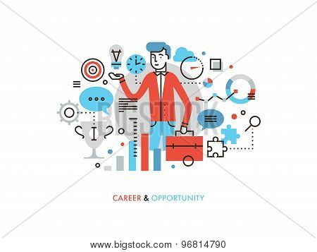Career Opportunity Flat Line Illustration
