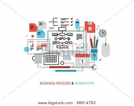 Business Workflow Flat Line Illustration
