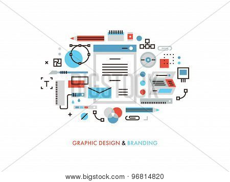 Graphic Design Flat Line Illustration