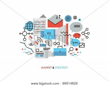 Market Strategy Flat Line Illustration