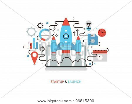 Business Startup Flat Line Illustration