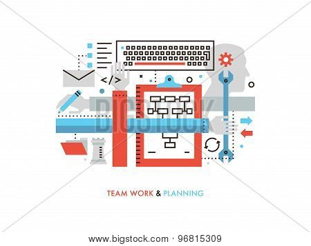 Team Work Production Flat Line Illustration