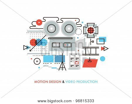 Video Production Flat Line Illustration