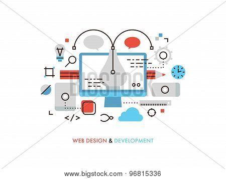 Web Design Flat Line Illustration