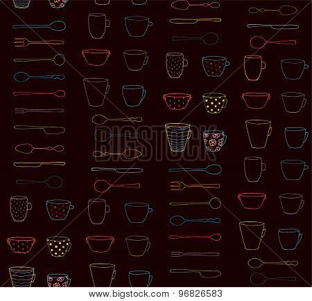 Cups Mugs Silverware Outline Seamless Pattern Neon on Dark Background