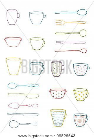 Cups Mugs Silverware Outline Drawing Design Set