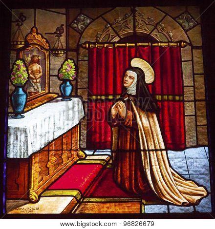 Saint Teresa Praying To Jesus Stained Glass Convento De Santa Teresa Basilica Avila Castile Spain