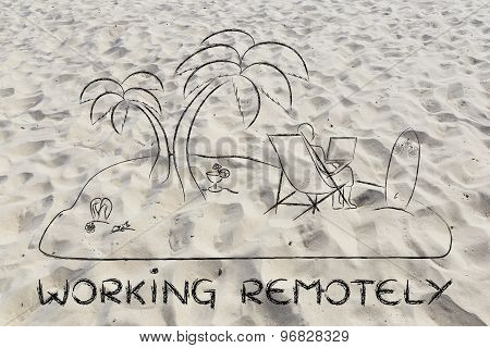 Working Remotely: Man Connected With His Laptop From A Desert Island