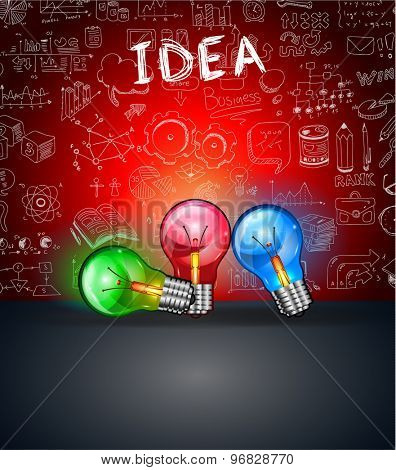 Idea Concept Layout for Brainstorming and Infographic background with graphs sketches. A lot of hand drawn infographics and related design elements are included plus 3D glossy lamp. poster