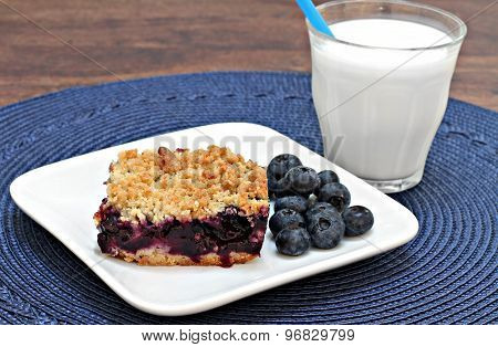 Blueberry Streusel Cookie Bar And Milk