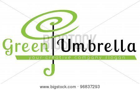 Logo template, green umbrella, insurance, creativity