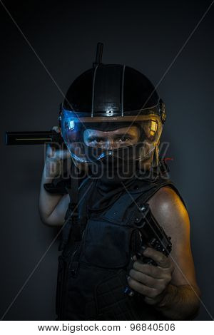 murderer with motorcycle helmet and guns poster