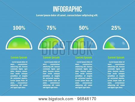 Infographic with green percent diagrams