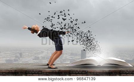 Businesswoman evades splash ideas